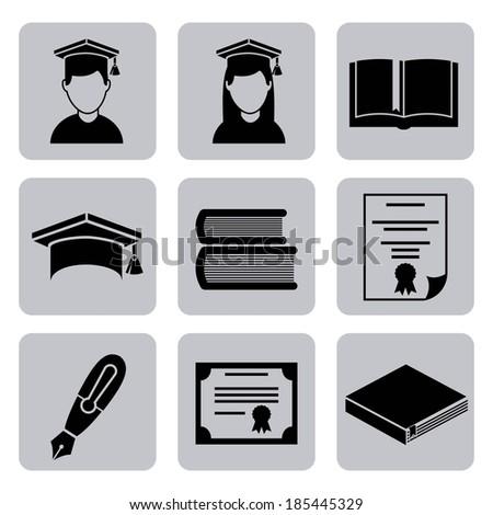 Graduation design over white background vector illustration - stock vector