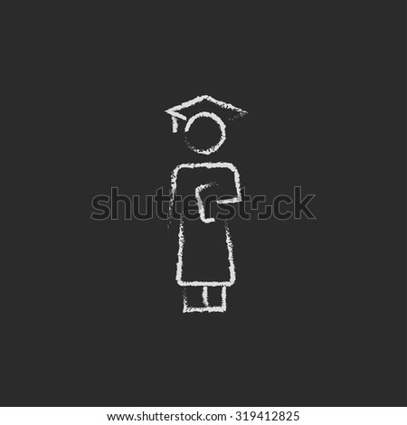 Graduation hand drawn in chalk on a blackboard vector white icon isolated on a black background. - stock vector