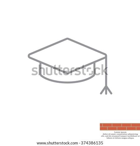 Graduation hat cap line art icon - stock vector