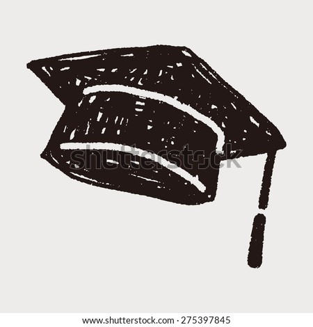 graduation hat doodle - stock vector