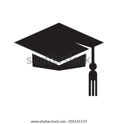 Graduation hat icon, isolated on white background. Education symbol. - stock vector
