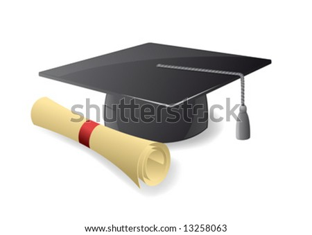 Graduation hat. Mortar board - stock vector