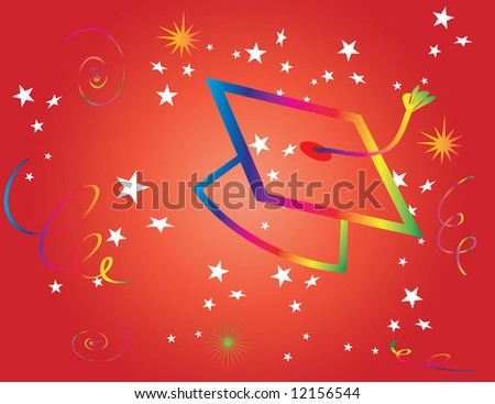 Graduation Hat on Red Background Vector - stock vector