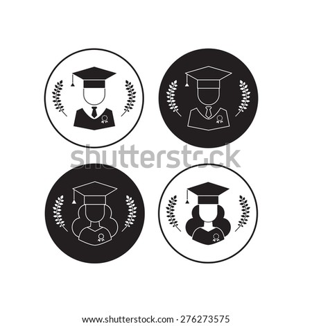 Graduation icon vector set. Men and women graduates with graduation cap and wreath signs. Higher education symbol buttons in black and white - stock vector