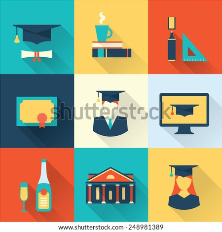 graduation icons - stock vector