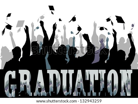 Graduation in silhouette - stock vector