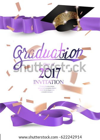 Graduation 2017 Invitation Card Purple Curly Stock Vector 622242914