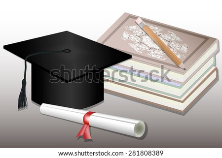 Graduation. Isolated Mortar Boards, books, pencil and Diploma - stock vector