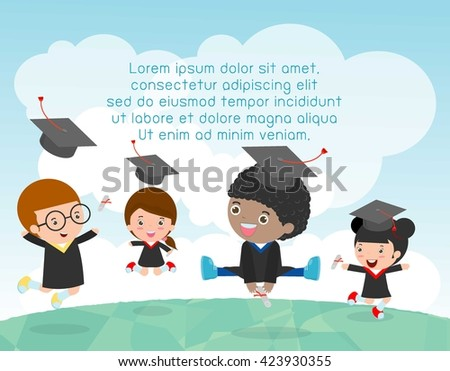 Graduation kids, happy child graduates, happy kids jumping, Graduates in gowns and with diploma, students graduation, vector illustration - stock vector