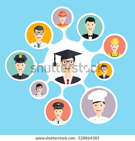 Graduation male student make career choices: businessman, doctor, artist, designer, cook, police, teacher, pilot, admin. Vector illustration. - stock vector