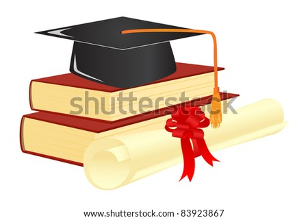 Graduation mortar on top of books. Vector illustration. - stock vector