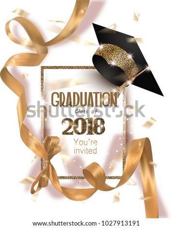 Graduation 2018 party invitation card hat em vetor stock 1027913191 graduation 2018 party invitation card with hat and long gold silk ribbon and confetti vector stopboris Gallery