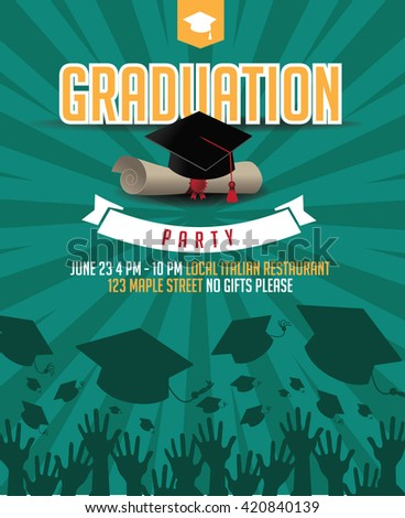 Graduation party mortarboard and diploma invitation background. EPS 10 vector. - stock vector