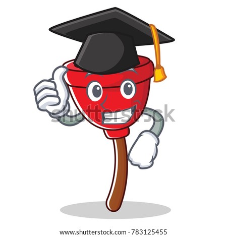Graduation plunger character cartoon style