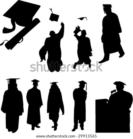 graduation students collection - vector - stock vector
