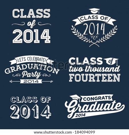 Graduation Vector Set | Let's Celebrate, Class of 2014, Congrats Grad, College Graduation, High School Graduation, Congratulations Graduate - stock vector