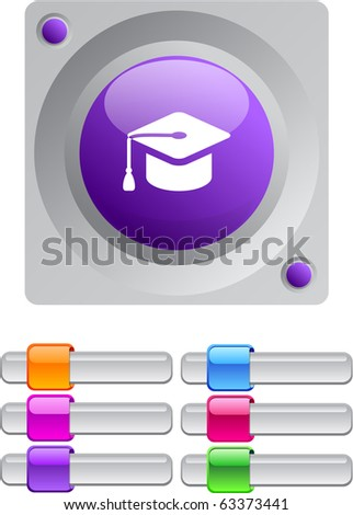Graduation vibrant round button with additional buttons. - stock vector
