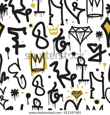Graffiti background seamless pattern - stock vector