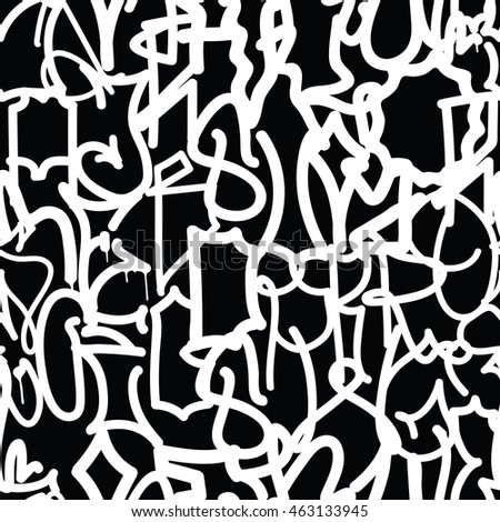 Graffiti background seamless pattern. Vector Tags, writing. Hand style, old school. Street art texture. Monochrome black and white colors