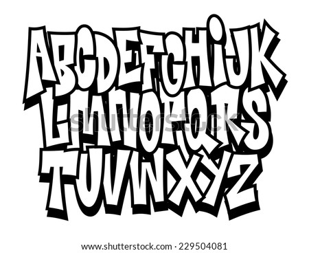 Graffiti cartoon comic doodle font alphabet. Vector - stock vector