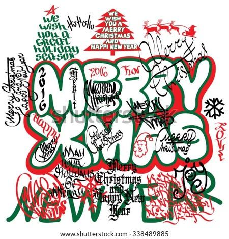 Graffiti Christmas card - stock vector