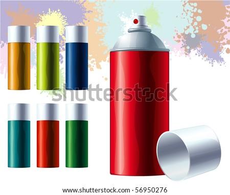 Graffiti color spray. Vector. - stock vector