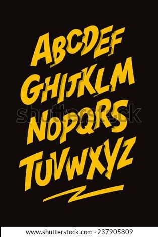 Graffiti comics style font. Vector alphabet - stock vector