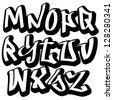 Graffiti font alphabet letters. Hip hop type grafitti design - stock vector