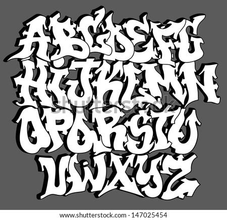Graffiti Font Alphabet Letters Hip Hop Stock Vector 147025454