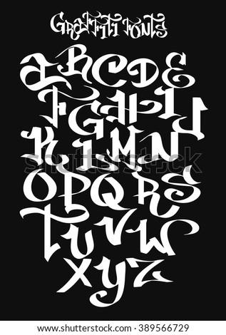 Graffiti font alphabet. Vector illustration. - stock vector