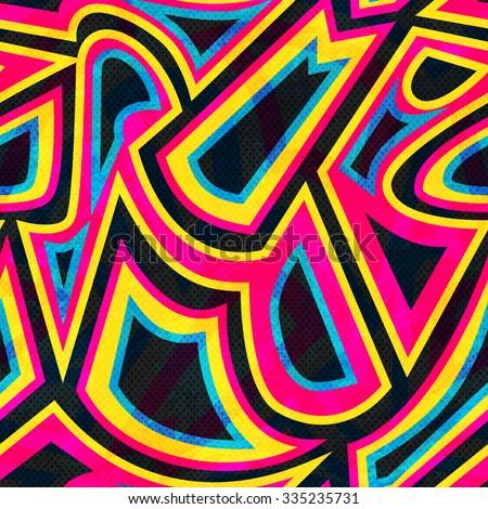 graffiti geometric seamless pattern - stock vector