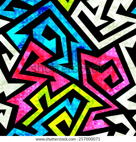 graffiti geometric seamless pattern with grunge effect  - stock vector