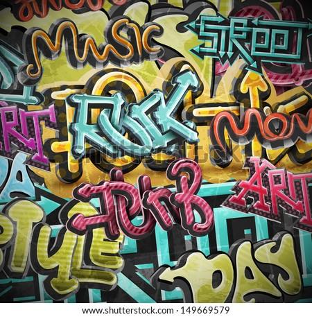 Graffiti grunge background. Eps 10 - stock vector