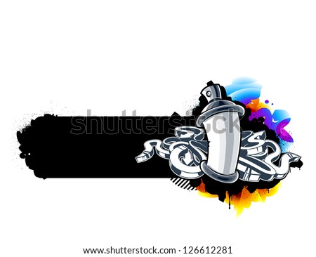 Graffiti image of can with arrows. Horizontal banner. Vector illustration. - stock vector