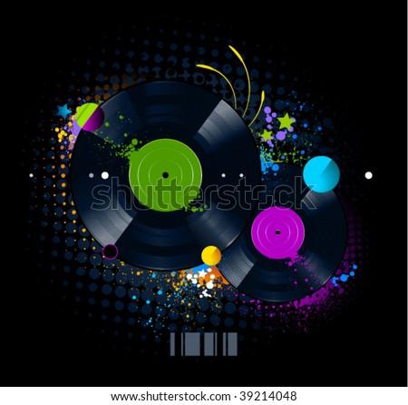 Graffiti image with vinyl disc on  black background. Vector illustration. - stock vector