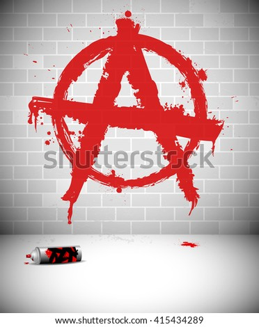 Graffiti on brick wall - red anarchy sign. Vector illustration. - stock vector