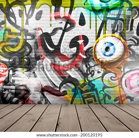 Graffiti on wall, eps 10 - stock vector