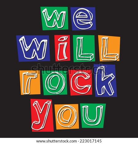 Graffiti rock, t-shirt graphics, music,  - stock vector