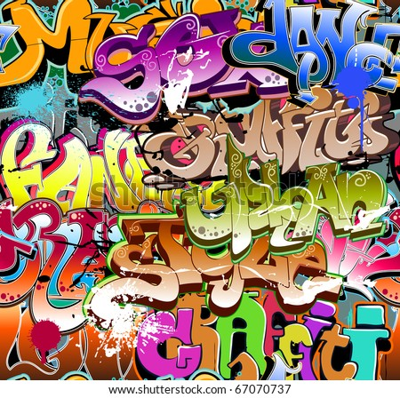 Graffiti seamless background - stock vector