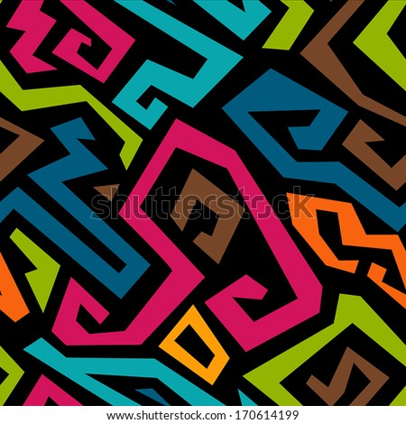 Graffiti seamless pattern with grunge effect. Vector illustration - stock vector