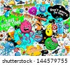 Graffiti seamless texture with bizarre elements and freak characters - stock vector