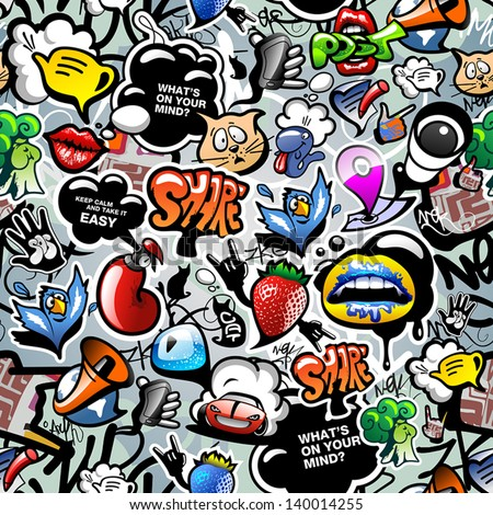 Graffiti seamless texture with social media signs and other shiny icons. Vector - stock vector