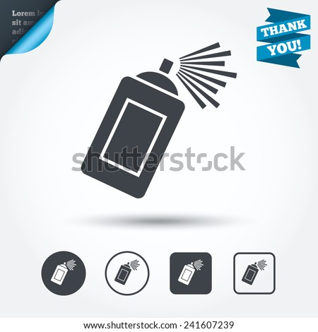 Graffiti spray can sign icon. Aerosol paint symbol. Circle and square buttons. Flat design set. Thank you ribbon. Vector - stock vector