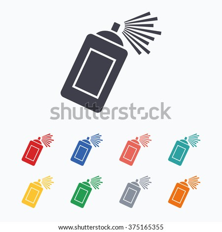 Graffiti spray can sign icon. Aerosol paint symbol. Colored flat icons on white background.