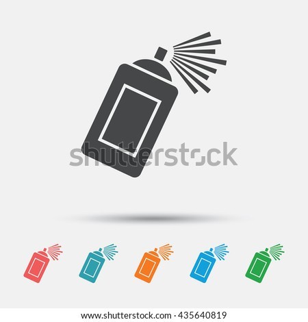 Graffiti spray can sign icon. Aerosol paint symbol. Graphic element on white background. Colour clean flat paint spray icons. Vector