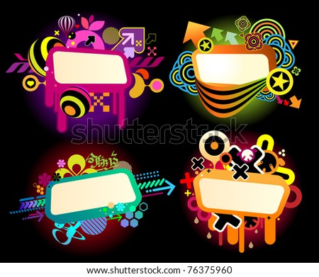 graffiti style colorful banner templates - stock vector