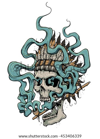 Graffiti style dead head in indian feather headdress smoking a peace pipe. Smoke streaming up and making magical loops and zigzags around the skull. Cool tshirt print, tattoo or a poster design. - stock vector