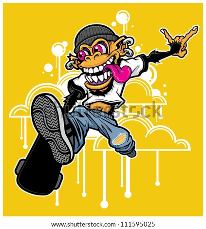 Graffiti Style Skateboarding Monkey Vector illustration of a skateboarding monkey performing a trick. Monkey skateboarder is high in the air in front dripping graffiti-style clouds. - stock vector