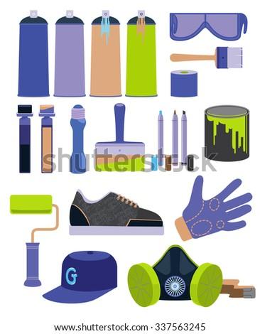 Graffiti tools set in flat designe - stock vector