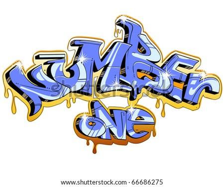graffiti vector design. Number one - stock vector